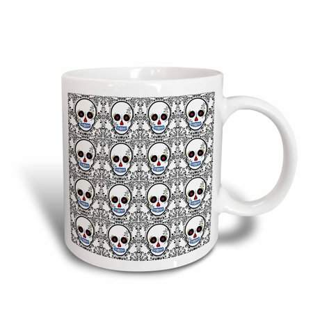 3dRose Day of the Dead Skull D?a de los Muertos Sugar Skull Print White, Ceramic Mug, 11-ounce