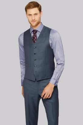 Ermenegildo Zegna Cloth Regular Fit Blue Sharkskin Waistcoat