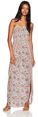 Angie Women's Smocked Printed Strapless Wrap Flyaway Maxi Dress