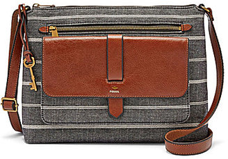 Fossil Kinley Striped Chambray Cross-Body Bag $128 thestylecure.com