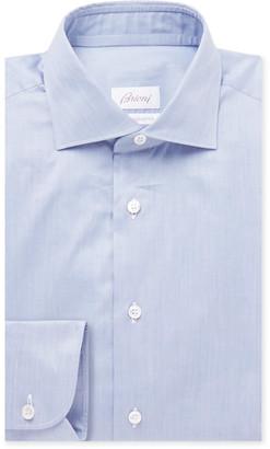 Brioni Blue Slim-Fit Cotton Shirt - Men - Blue