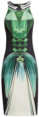 Mary Katrantzou Lalic Perfume Print Crepe Midi Dress - Womens - Green Multi