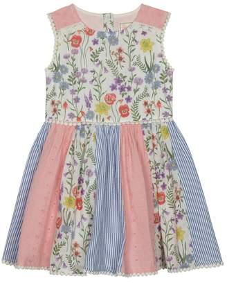 Mantaray Girls' Multicoloured Floral Print Panelled Dress