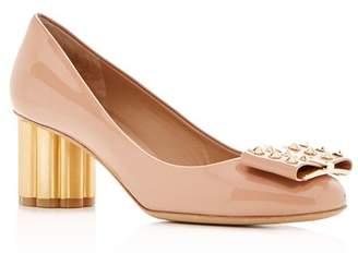 Salvatore Ferragamo Women's Capua 55 Patent Leather Floral Heel Pumps
