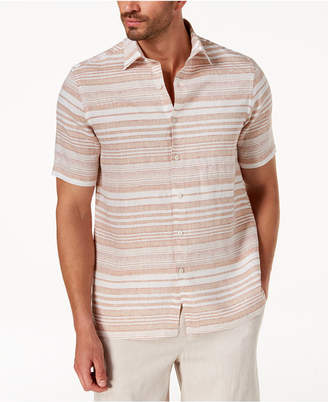 Tasso Elba Men's Horizontal Striped Linen Shirt, Created for Macys