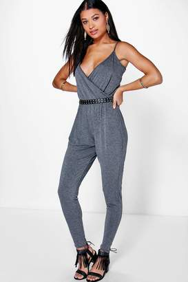 boohoo Wendy Basic Wrap Front Jumpsuit