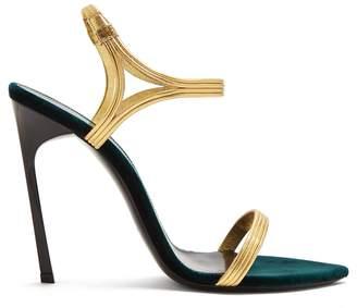 Saint Laurent Ourika & Talitha leather-trim velvet sandals