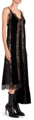 Stella McCartney Women's Lingerie Asymmetric Velvet& Lace Slip Dress - Black - Size 36 (2)