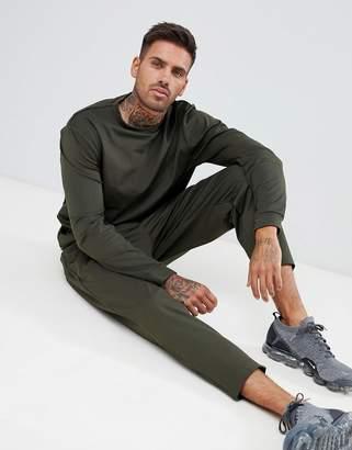 Asos DESIGN Retro Tracksuit Sweatshirt/ Slim Crop Joggers In Green