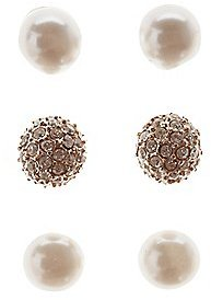 Faux Pearl & Rhinestone Stud Earrings - 3 Pack $6 thestylecure.com