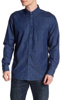 Indigo Star Long Sleeve Print Woven Tailored Fit Shirt
