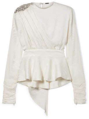 Dodo Bar Or - Grace Crystal-embellished Silk-jacquard Peplum Blouse - White