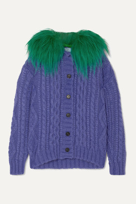 Prada Faux Fur-trimmed Cable-knit Mohair-blend Cardigan - Purple