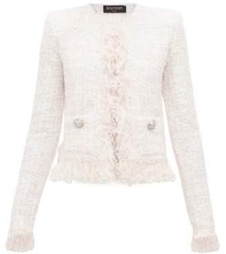 Balmain Frayed Boucle Tweed Jacket - Womens - Pink White