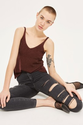 Topshop Washed Black Super Ripped Joni Jeans