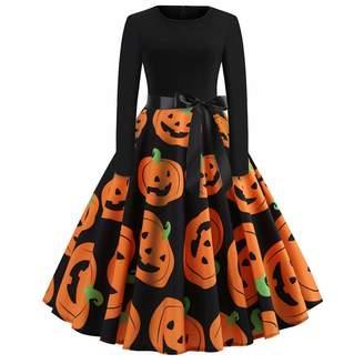 HEFEITONG Discount Long Skirts for Women African Skirts for Women Long Length Women's Vintage Print Long Sleeve Halloween Evening Party Swing Dress