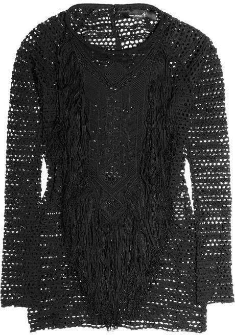Isabel Marant Malibu fringed stretch-lace top