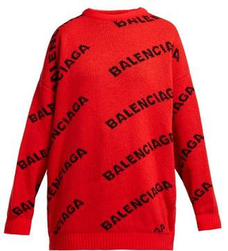Balenciaga Intarsia Logo Wool Blend Sweater - Womens - Red