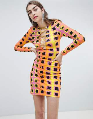 House of Holland Exclusive printed lattice tie dress