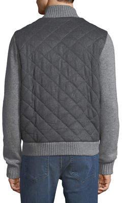 Neiman Marcus Men's Quilted Zip-Front Jacket