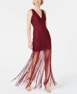 Adrianna Papell Hand-Beaded Fringe Dress