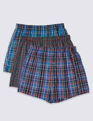 Marks and Spencer 3 Pack Pure Cotton Checked Boxers