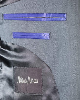 Neiman Marcus Herringbone Wool Two-Piece Suit, Gray