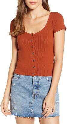 PST by Project Social T Button Front Crop Tee