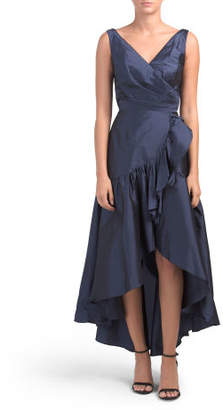 Taffeta Wrap Front Dress