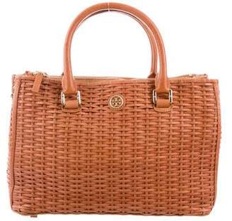 Tory Burch Woven Leather Double Zip Tote