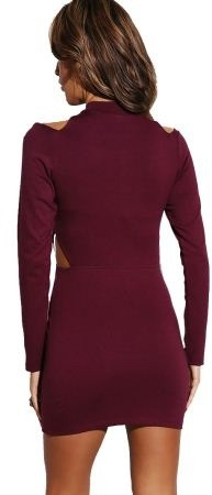 Queen Trends Maroon Red Zip Cold Shoulder Dress