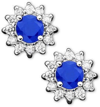 Effy Royalty Inspired by Sapphire (5/8 ct. t.w.) and Diamond (1/4 ct. t.w.) Stud in 14k White Gold(Also Available in Emerald)