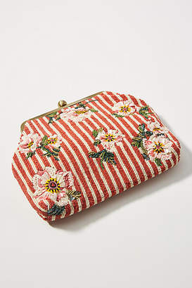 Anthropologie Budding Blooms Striped Clutch