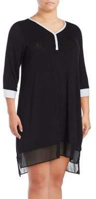 DKNY Plus Lace Hem Dress