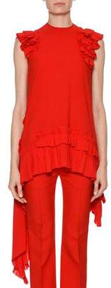 Alexander McQueen Sleeveless Asymmetric-Hem Blouse with Ruffled Trim