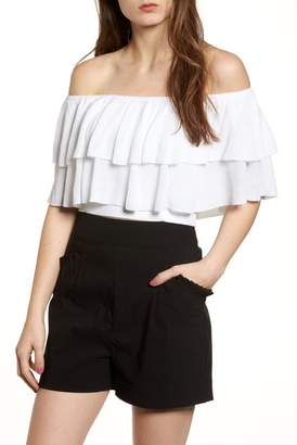 Leith Ruffle Off the Shoulder Sweater