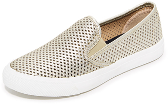 Sperry Seaside Perforated Slip On Sneakers $75 thestylecure.com