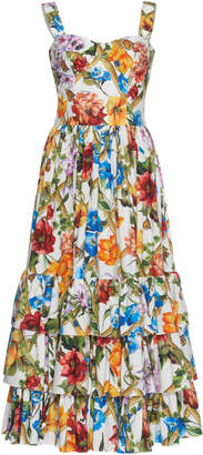 Dolce & Gabbana Floral-Print Cotton Bustier Dress