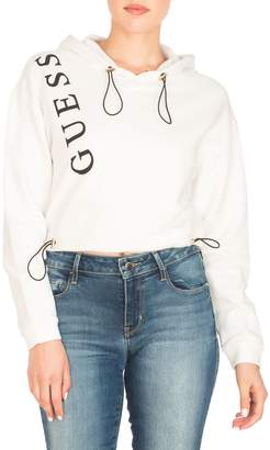 GUESS Sasha Logo Cotton Blend Fleece Cropped Hoodie