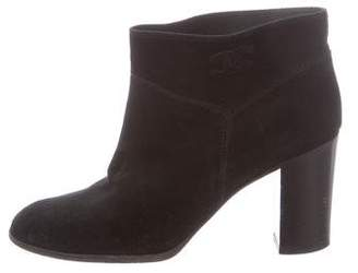 Chanel Round-Toe Suede Ankle Boots