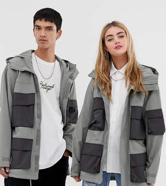 Reclaimed Vintage unisex military festival jacket with contrast pocket details