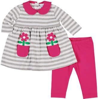 Florence Eiseman Striped Flower-Pocket Dress w/ Matching Leggings, Size 3-24 Months