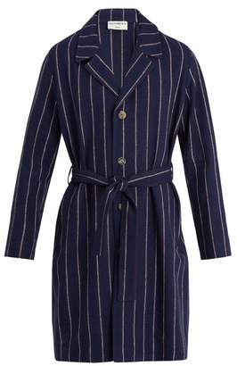 Éditions M.R editions M.r - Notch Lapel Striped Linen Blend Overcoat - Mens - Navy