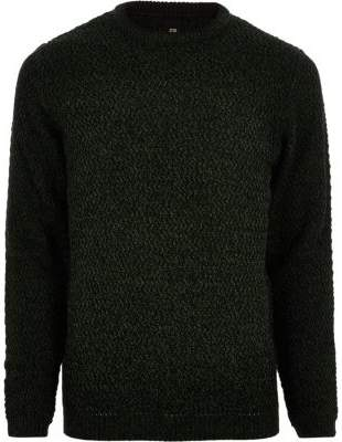 River Island Mens Big and Tall green slim fit textured sweater
