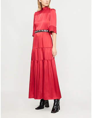 Vilshenko Avelina tiered satin maxi dress