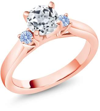 Swarovski Gem Stone King 1.12 Ct White Topaz Zirconia 18K Rose Gold Plated Silver 3-Stone Ring