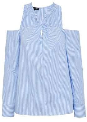 Rag & Bone Cold-Shoulder Twisted Striped Cotton-Poplin Top