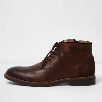 River Island Mens Dark brown leather chukka boots