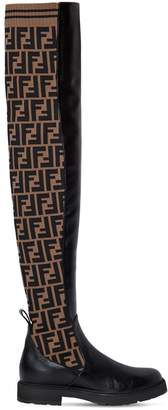 Fendi 30mm Leather & Knit Over The Knee Boots