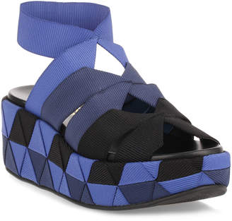 Salvatore Ferragamo Ellettra blue elasticated platform